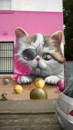 Share your graffiti and Street Art here. 3d Street Art, Urban Street Art, Murals Street Art, Amazing Street Art, Street Art Graffiti, Mural Art, Street Artists, Amazing Art, Art Brut