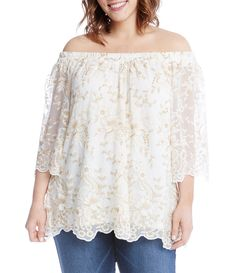 Karen Kane Plus Lace Off The Shoulder Top #Dillards