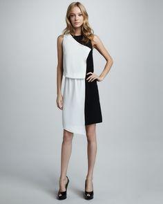 Tibi Asymmetric Colorblock Dress - Bergdorf Goodman