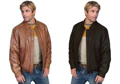 Scully Men's Premium Casual Lambskin Leather Zip Front & Snap Closure Jacket #Scully #BasicJacket
