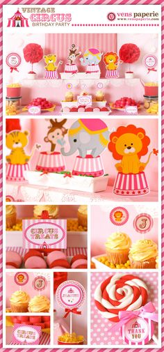 Vintage Pink Carnival Circus Birthday Party Package Personalized FULL Collection Set  - PRINTABLE DIY - PS801CA2x. $35.00, via Etsy.