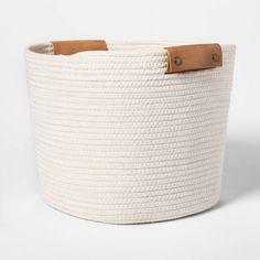 Round Basket In Braided Matgrass & White Coiled Rope - Threshold™ : Target Cube Storage Unit, Storage Bins, Storage Cubes, Storage Containers, Cube Storage Baskets, Wire Storage, Wire Shelving, Small Storage, Storage Ideas