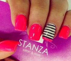 Pretty pink nails with one finger black and white stripes with pink at the bottom Get Nails, Fancy Nails, Love Nails, How To Do Nails, Pink Nails, Pretty Nails, Gelish Nails, Cute Nail Designs, Simple Designs