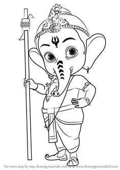 How to Draw Bal Ganesh step by step, learn drawing by this tutorial for kids and adults. Art Drawings For Kids, Outline Drawings, Art Drawings Sketches Simple, Pencil Art Drawings, Colorful Drawings, Ganpati Drawing, Ganesha Drawing, Ganesha Sketch, Mandala Art