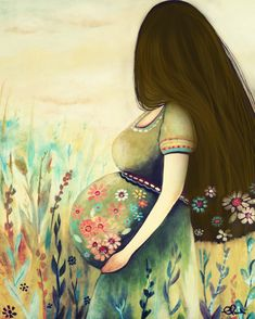 Expecting woman by Claudia Tremblay Claudia Tremblay, Mode Poster, Pregnancy Art, Pregnancy Info, Pregnant Mom, Baby Sleep, Female Art, Wall Art Decor, Gifts For Mom
