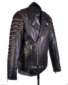 $6 350 NEW Versace Black Quilted Studded Leather Biker Jacket 50 40 | eBay