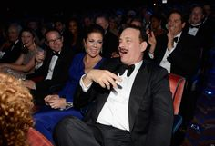 Tom Hanks, nominated for best actor in a Play, reacts to a joke during the 2013 Tony Awards.