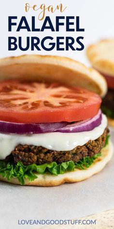 All the flavor and texture of authentic falafel in burger form. These burgers have a nice crispy exterior with a light and fluffy interior. The chickpeas are perfectly seasoned and the burgers are so easy to make! Vegetarian Sandwich Recipes, Veggie Sandwich, Vegetarian Cooking, Delicious Vegan Recipes, Burger Recipes, Seafood Recipes, Veggie Wraps, Going Vegetarian, Vegetarian Breakfast