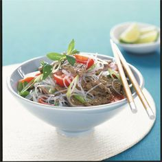 This main course beef salad is tasty, yet light. Add extra herbs if you fancy, add basil, Thai basil or even flat-leaf parsley with the mint.