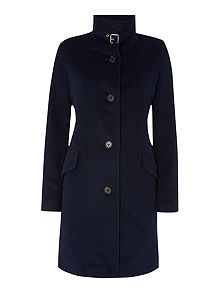Balmacaan wool coat