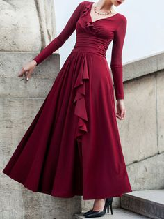 Wine Red Ruched Long Sleeve Swing Evening Dress