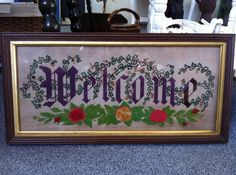 Antique Punch Paper Motto Sampler WELCOME by dimadesigns on Etsy, $100.00