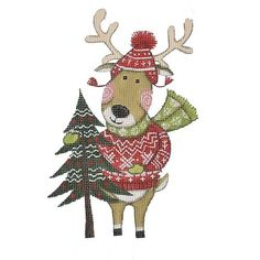 Winter Reindeer | Needlepoint.Com Painted Pony, Hand Painted, Needlepoint Canvases, Reindeer, Christmas Ornaments, Holiday Decor, Winter, Canvas Size, Count