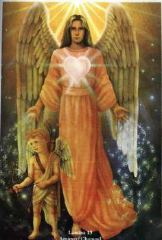 Meet Archangel Chamuel, the Angel of Peaceful Relationships: Archangel Chamuel, known as the angel of peaceful relationships, often appears in art with a heart symbol.