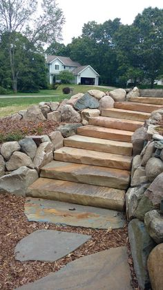 Yard Stones, Stepping Stones, Stacked Stone Walls, Sloped Yard, Stone Retaining Wall, Outdoor Stone, Outdoor Ideas, Outdoor Decor, Natural Stones