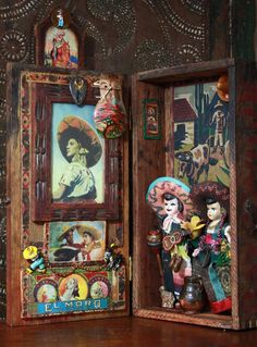 """""""My Hat is Off to You, Old Mexico,"""" shrine by Laurie Zuckerman. Images Graffiti, Day Of The Dead Art, Tin Art, Assemblage Art, Mexican Folk Art, Kirchen, Religious Art, Shadow Box, Altered Art"""