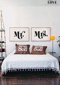 Mr et Mme Double mur Print - noir & blanc typographie Poster - amour - mariage