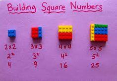 Use Legos to build squares!