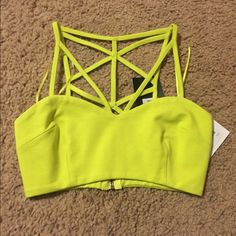 NWT Crop Top NWT. Small. Yellowish/ Lime color Tops Crop Tops