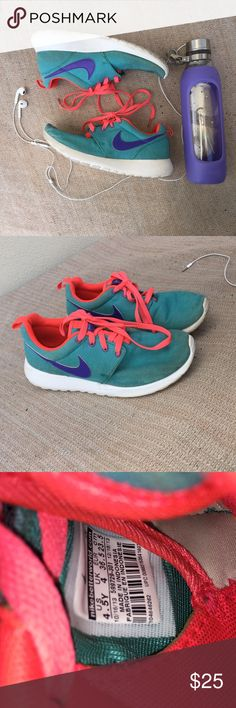 NIKE  Roshe Running Shoes Super cute Nike Roshe running shoes. Size 4.5 in youth but fits like 5.5/6 in women's. Coral, turquoise, and the purple really compliments the shoe. Nike Shoes Sneakers