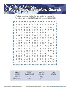 Paul shipwrecked word search
