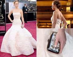 Jennifer Lawrence arrasou no red carpet com o vestido tomara que caia clarinho da alta-costura da Dior. Mesmo com o tombo no palco, a saia enorme com cauda poderosa não deixou de impressionar. O colar delicado jogado para trás e a clutch deixam tudo ainda mais perfeito!