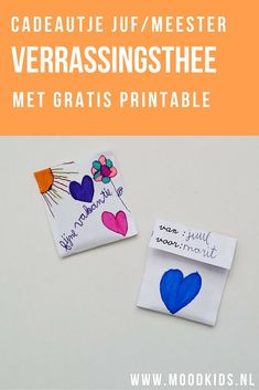 Verrassingsthee voor de juf of meester Teacher Treats, Teacher Gifts, Cool Gifts, Diy Gifts, Diy For Kids, Crafts For Kids, Goodbye Gifts, Teacher Inspiration, Best Gifts For Her