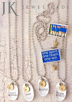 Fabulous idea for Team Awards!!!  Jack Tags & Kate Stamps from Jewel Kade.  Customize your own, the possibilities are endless.  kelley.jewelkade.com