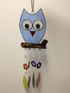 My stained glass owl wind chimes! Made by me!