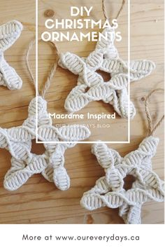 Our Christmas Tree Ornaments [Part DIY Macrame Inspired Star Ornaments – Our Everydays Star Ornament, Diy Christmas Ornaments, Homemade Christmas, Diy Christmas Gifts, Holiday Crafts, Christmas 2019, Diy Christmas Tree Decorations, Christmas Ideas, Christmas Pictures