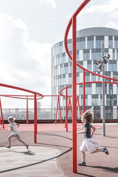 Image 24 of 47 from gallery of Park 'n' Play / JAJA Architects. Photograph by Rasmus Hjortshøj Green Facade, Sport Park, Playground Design, Children Playground, Outdoor Gym, Image 30, Design Consultant, Car Parking, Installation Art