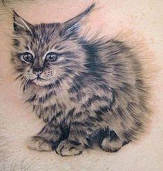 Little fluffy kitten tattoo