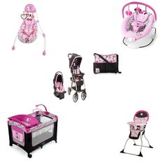Disney - Minnie Mouse Garden Delights Baby Gear Bundle Collection Disney Amble Quad Travel System - Garden Delight Minnie Bring a little magic to your strolls with the Disney Baby Amble Quad Travel Sy