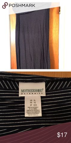 Motherhood Maternity Maxi Skirt This was used a couple of times when I was pregnant two years ago. It is incredibly comfy! I loved it while pregnant. It is a maxi skirt, striped with white and navy. Has foldable Top to adjust to your baby bump. Motherhood Maternity Skirts Maxi