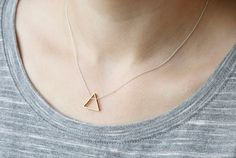 Geometric jewelry: brass triangle necklace by Filoe on Etsy