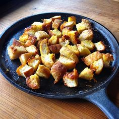 HOMEMADE FRENCH BREAD CROUTONS...Turned the rest of the bread into croutons after dinner with a special friend. Flavor  all the way, plenty of herbs with turmeric and cheese...Good on anything, or just nibble them away. Healthy food leads to healthy skin! Know your farmer, know your skincare maker!!! #farmersmarket #local #sanantonio #texas #handmade #highendskincare #homemade #healthy #croutons #herbs #castironskillet