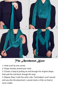 A couple weeks back I was asked about this scarf knot (also worn here), but when I attempted to type out a how-to explanation it didn't make much sense.