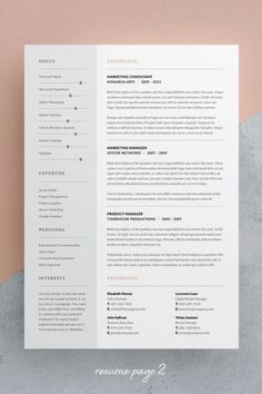 Resume / CV Template - Tamara page) --- Welcome to Keke Resume Boutique! Our templates are created to the highest standard of modern design and editability. Cv Template Word, Resume Template Examples, Resume Design Template, Creative Resume Templates, Cover Letter Layout, Cover Letter For Resume, Resume Layout, Resume Cv, Cv Photoshop