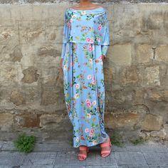 Blue Ruffle Dress Floral Maxi Dress by cherryblossomsdress on Etsy