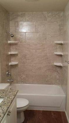 My New Bathtub Tile Surround! 12x24 Floridatile Cinema Series In Ivory  Lace. Horizontal Subway