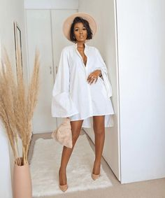 Chic Outfits, Trendy Outfits, Summer Outfits, Fashion Outfits, Fashion Trends, Urban Fashion, Fashion Looks, Oversized Shirt Dress, Mode Streetwear