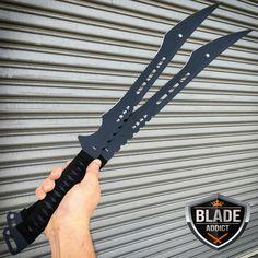"27/"" Single Two Tone Full Tang Blade Black Ninja Sword Machete with Sheath NIB"