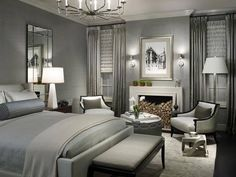 Silver and White Bedroom. Glamour. 1940s Art Deco style resonates with my inner diva. Love this.