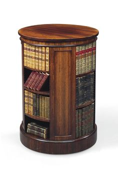 I love this idea: spinning circular bookshelf. This one's a George IV rosewood circular bookcase by Gillows, circa Antique Furniture, Home Furniture, Dream Library, Library Books, Home Libraries, Book Nooks, Open Shelving, Bookshelves, House Design
