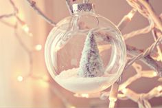 homemade snow and tree ornament