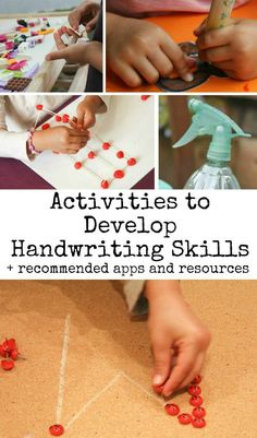 activities to develop handwriting skills, plus recommended apps and resources