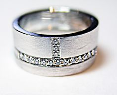 Simple Ring Stack by Claudia Endler: Gold and Stone Wedding Band available at www.artfulhome.com