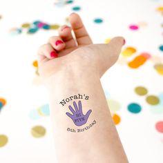 Hi Five Birthday Temporary Tattoos — Kristen McGillivray 5th Birthday Boys, 5th Birthday Party Ideas, Birthday Parties, Ironman Birthday, Custom Temporary Tattoos, Custom Tattoo, Graham, Hi Five, Party Tattoos
