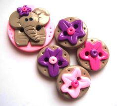 Button Ella polymer clay button set of 5 by DigitsDesigns