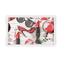 Beauty Fashion Drawing Make up Small Tray - home gifts ideas decor special unique custom individual customized individualized